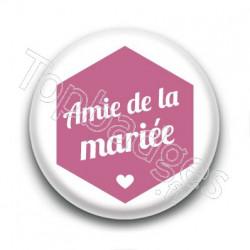 Badge : Hexagone rose, Amie de la mariée