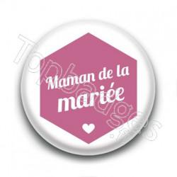 Badge : Hexagone rose, Maman de la mariée