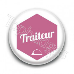 Badge : Hexagone rose, Traiteur