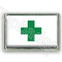 Pins chromé drapeau de la croix verte