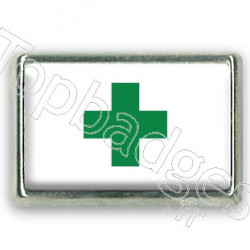 Pins rectangle : Drapeau croix verte