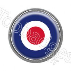 Pins rond chromé : Cocarde anglaise