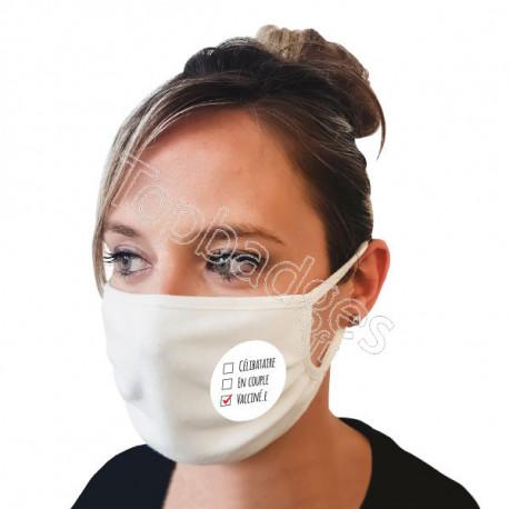 Masque 120 lavages : Célibataire, en couple, vacciné.e