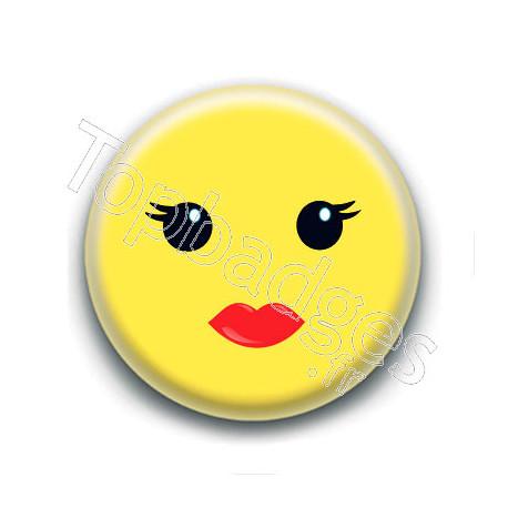 Badge : Smiley femme