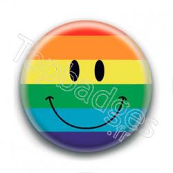 Badge Smiley drapeau gay