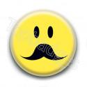 Badge : Smiley moustache classique