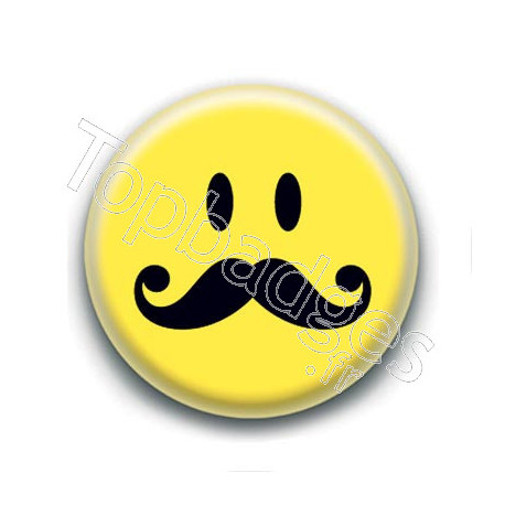 Badge : Smiley moustache longue