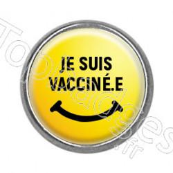 Pins rond : Je suis vacciné.e, smiley