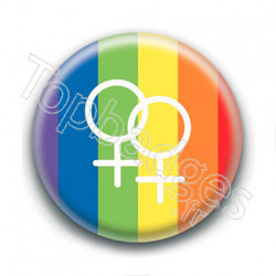 Badge : Drapeau LGBTQIA+, symbole femme