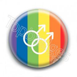 Badge : Drapeau LGBTQ+, symbole homme
