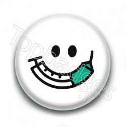 Badge : Vaccin, smiley