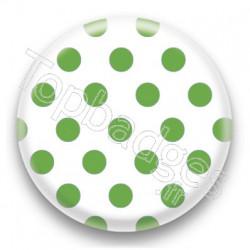 Badge blanc et pois vert