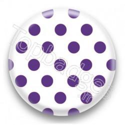 Badge blanc et pois violet