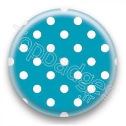 Badge Turquoise et Pois Blancs