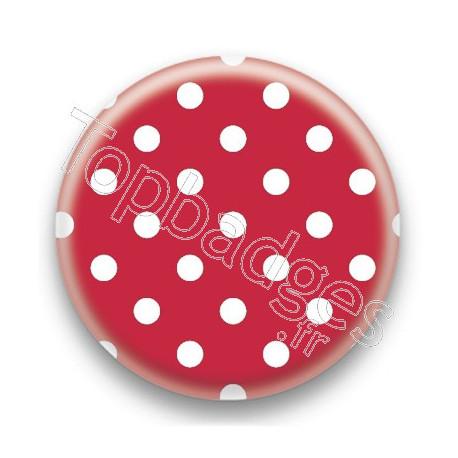 Badge Pois Blancs Sur Fond Rouge Fonce