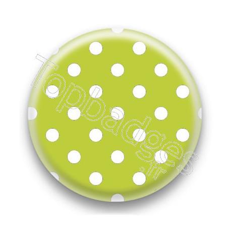 Badge Vert Pomme et Pois Blancs