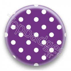 Badge Violet et Pois Blancs