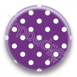 Badge Violet et Pois Blancs