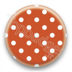 Badge Orange et Pois Blancs