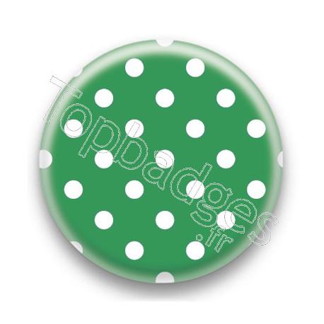 Badge Vert fonce et Pois Blancs