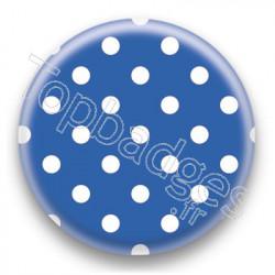Badge Bleu et Pois Blancs