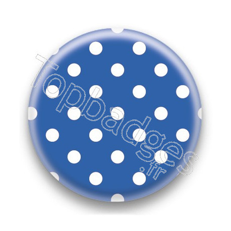 Badge Bleu et Pois Blancs