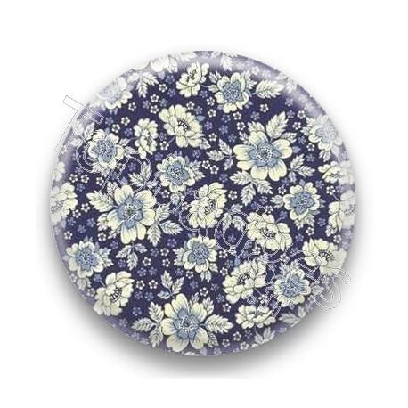 Badge fleurs bleus