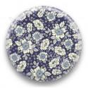 Badge tissus liberty fleurs bleus