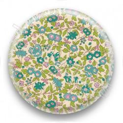 Badge tissus liberty fleurs vertes