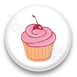 Badge Cupcake cerise