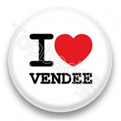 Badge I Love Vendée sur fond blanc
