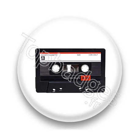 Badge Cassette Audio noire