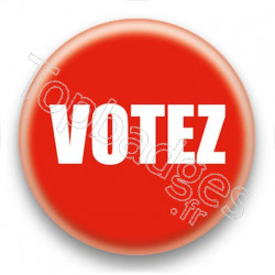 Badge Votez fond rouge