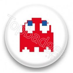 Badge Ghost Pacman Rouge
