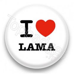 Badge I Love Lama fond blanc