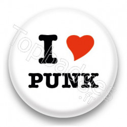 Badge I Love Punk fond blanc