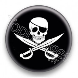 Badge Symbole Pirate fond noir