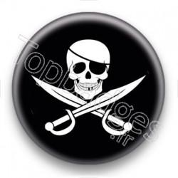 Badge Symbole Pirate fond noir