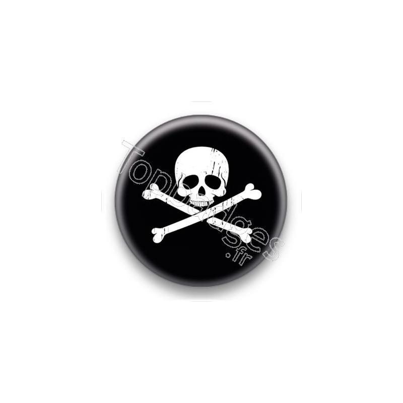 Badge bouton 25mm symbole t te de mort - Symbole tete de mort ...
