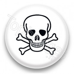 Badge Tête de mort fond blanc