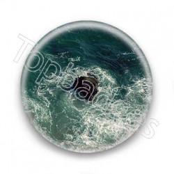 Badge un rocher dans l'océan