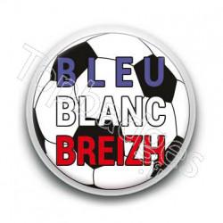 Badge ballon de foot bleu blanc breizh