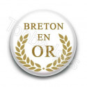 Badge Breton en or fond blanc