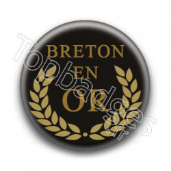 Badge breton en or fond noir