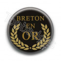 Badge Breton en or fond noir