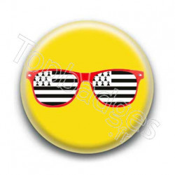 Badge Lunettes rouges drapeau breton