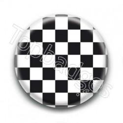 Badge Carreaux Noir et Blanc