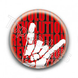 Badge Revolution rouge avec main