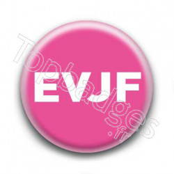 Badge EVJF blanc sur fond rose