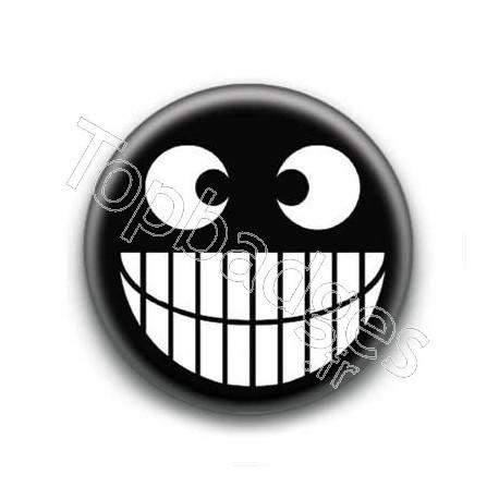 Badge : Smiley grand sourire noir